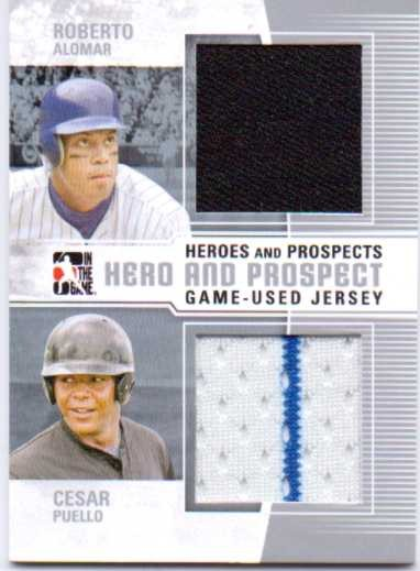 2011 ITG Heroes and Prospects Heroes And Prospects Dual Jerseys Silver #11 Roberto Alomar/Cesar Puello S2