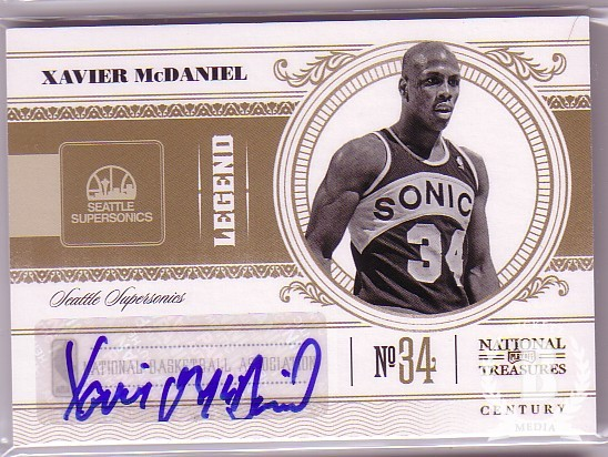 2010-11 Playoff National Treasures Century Signatures #153 Xavier McDaniel/99