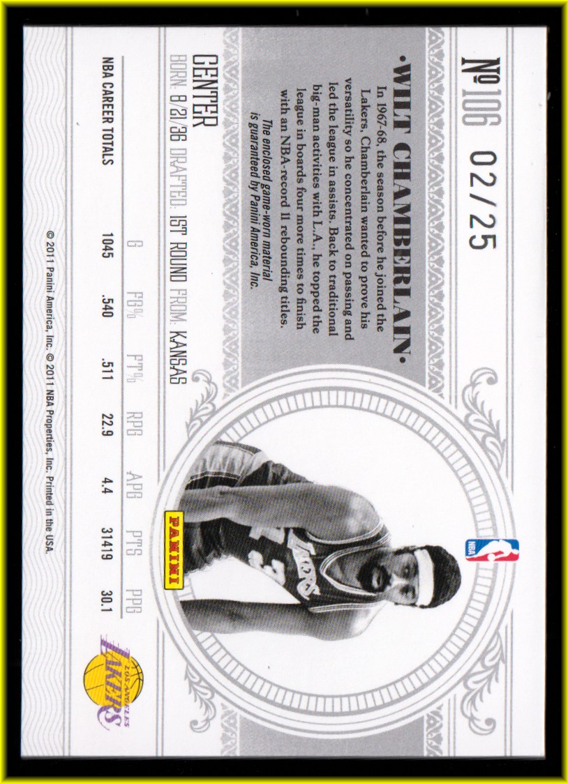 2010-11 Playoff National Treasures Century Materials #106 Wilt Chamberlain/25 back image