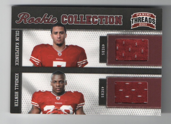 2011 Panini Threads Rookie Collection Materials Combo #9 Colin Kaepernick/Kendall Hunter