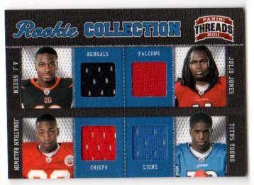2011 Panini Threads Rookie Collection Materials Quad #3 A.J. Green/Julio Jones/Jonathan Baldwin/Titus Young