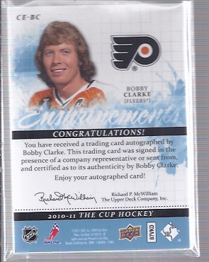 2010-11 The Cup Enshrinements #CEBC Bobby Clarke back image