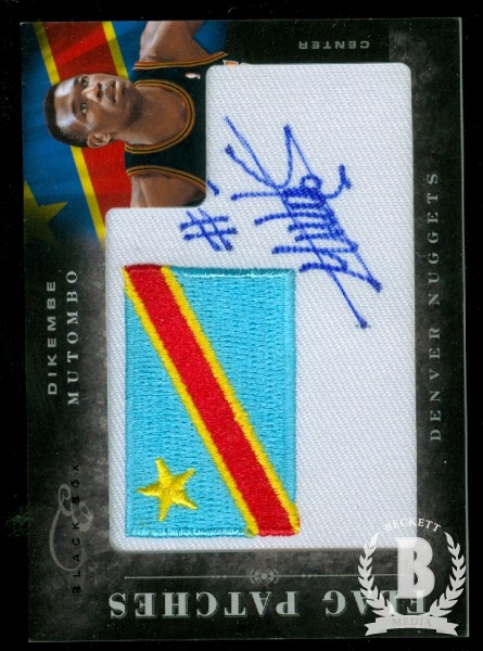 2010-11 Elite Black Box Flag Patches Signatures #11 Dikembe Mutombo/99