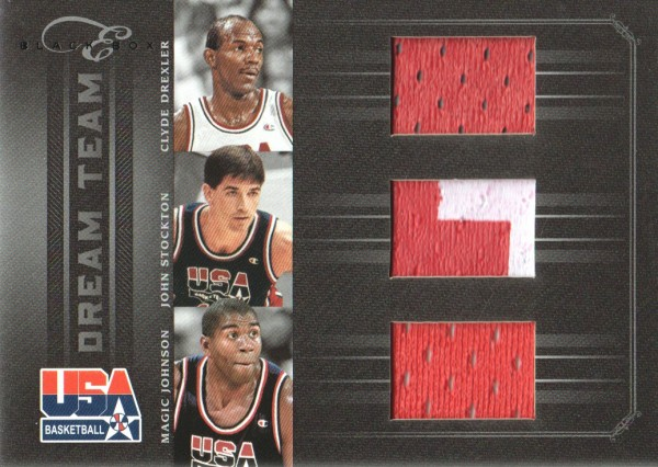 2010-11 Elite Black Box Dream Team Materials Prime #1 Clyde Drexler/John Stockton/Magic Johnson