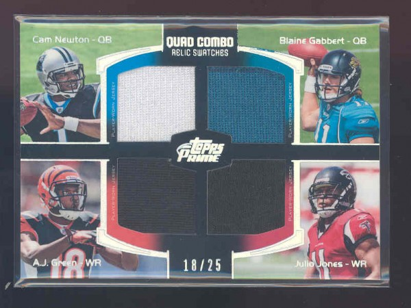 2011 Topps Prime Quad Relics Silver Holofoil #NGGJ Cam Newton/Blaine Gabbert/A.J. Green/Julio Jones