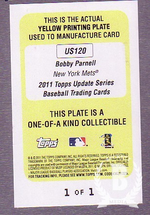 2011 Topps Update Printing Plates Yellow #US120 Bobby Parnell