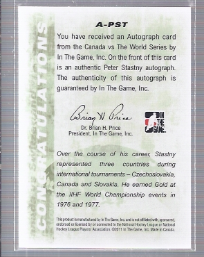 2011-12 ITG Canada vs The World Autographs #APST Peter Stastny back image