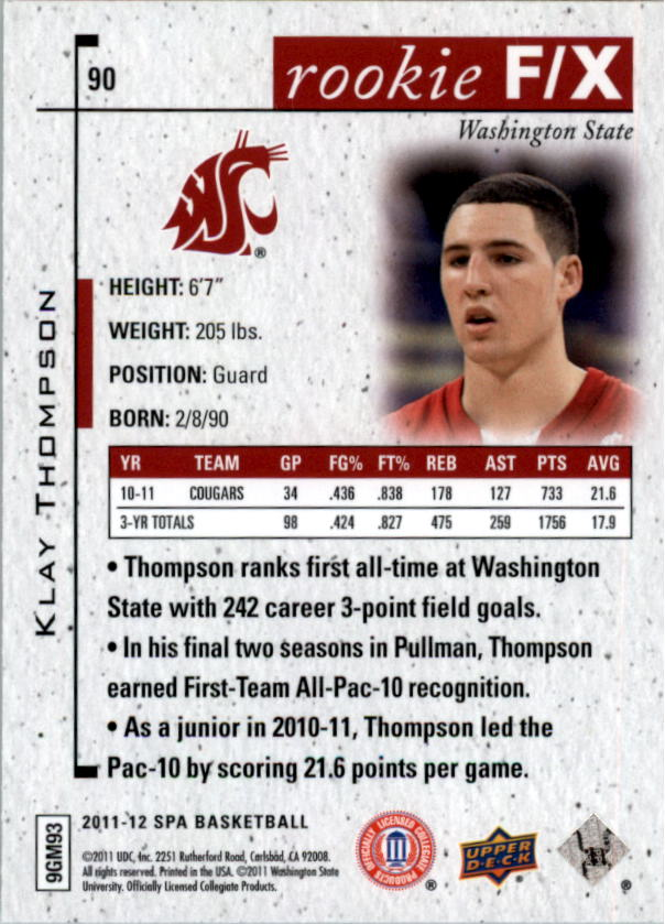 2011-12 SP Authentic #90 Klay Thompson FX back image