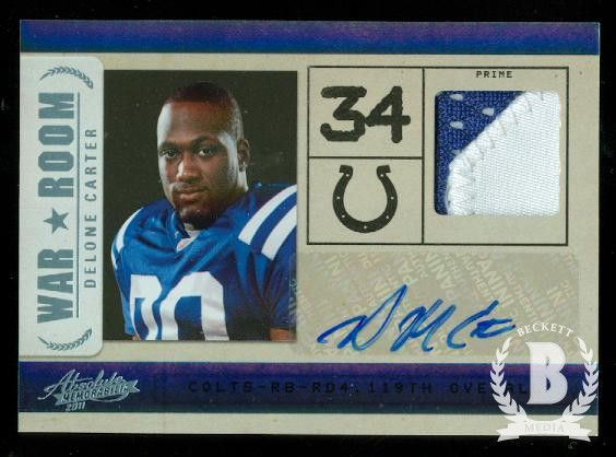 2011 Absolute Memorabilia War Room Materials Autographs Prime #29 Delone Carter