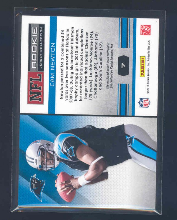 2011 Absolute Memorabilia Rookie Jersey Collection #7 Cam Newton back image