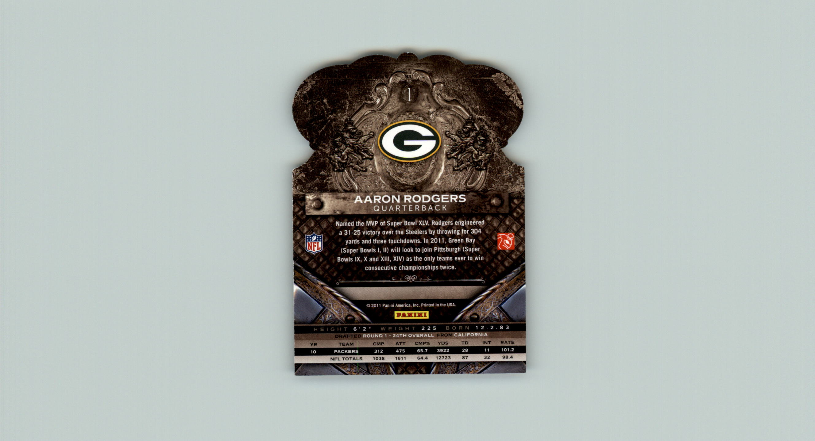 2011 Crown Royale #1 Aaron Rodgers back image
