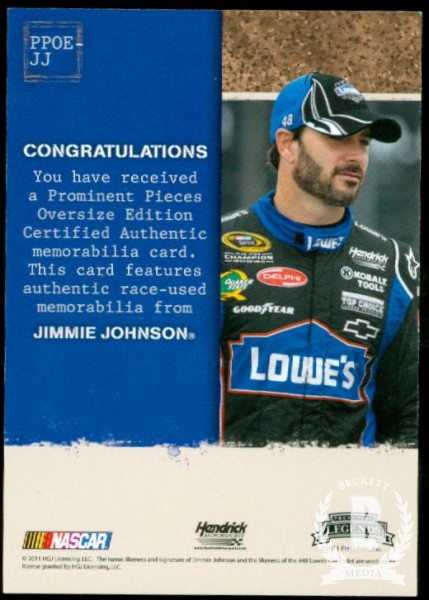 2011 Press Pass Legends Prominent Pieces Oversized Firesuit #PPOEJJ Jimmie Johnson back image