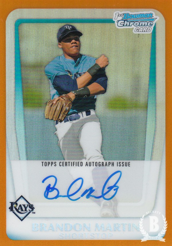 2011 Bowman Chrome Draft Prospect Autographs Orange Refractors #BM Brandon Martin