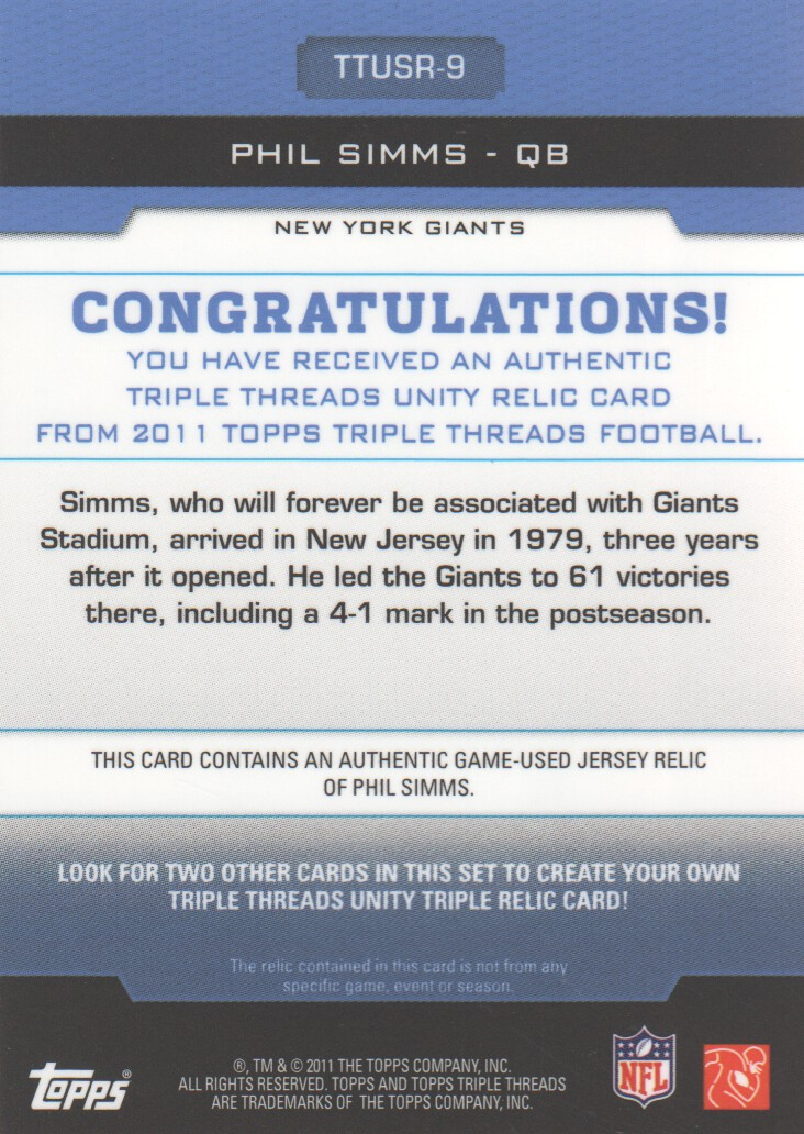 2011 Topps Triple Threads Unity Relics #TTUSR9 Phil Simms back image
