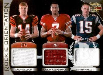2011 Panini Gridiron Gear Rookie Orientation Materials Triple #5 Andy Dalton/Colin Kaepernick/Ryan Mallett