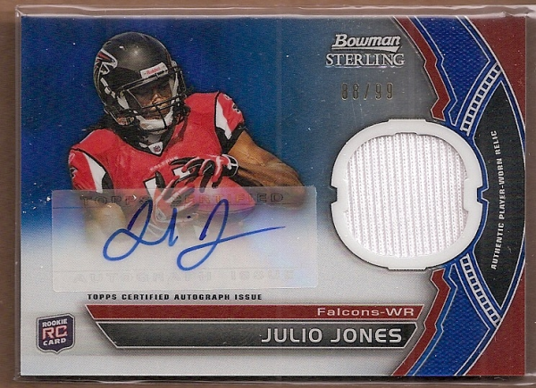 2011 Bowman Sterling Blue Refractors #BSARJJ Julio Jones JSY AU
