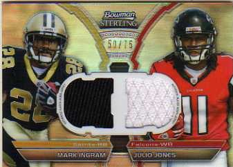 2011 Bowman Sterling Dual Jersey Box Topper Refractors #BSDRIJ Mark Ingram/Julio Jones
