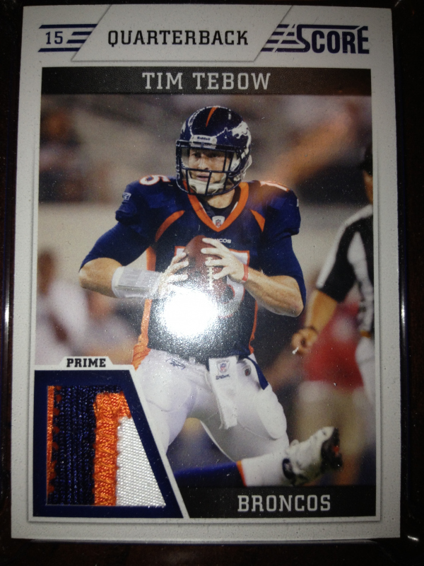 2011 Score Retail Factory Set Jerseys Prime #TT Tim Tebow