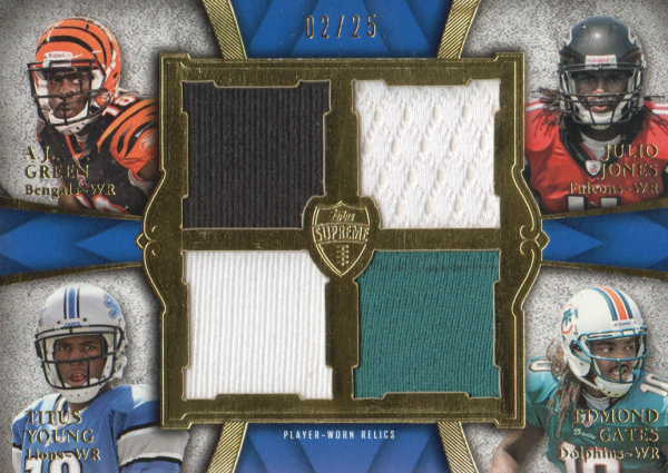2011 Topps Supreme Rookie Relic Quad Combos #GJYG A.J. Green/Julio Jones/Titus Young/Edmond Gates