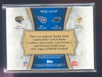 2011 Topps Supreme Rookie Relic Quad Combos #GLNP Blaine Gabbert/Jake Locker/Cam Newton/Christian Ponder back image