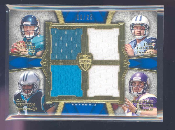 2011 Topps Supreme Rookie Relic Quad Combos #GLNP Blaine Gabbert/Jake Locker/Cam Newton/Christian Ponder