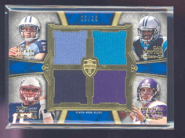 2011 Topps Supreme Rookie Relic Quad Combos #LNMP Jake Locker/Cam Newton/Ryan Mallett/Christian Ponder