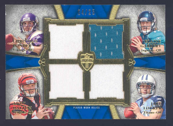 2011 Topps Supreme Rookie Relic Quad Combos #PGDL Christian Ponder/Blaine Gabbert/Andy Dalton/Jake Locker