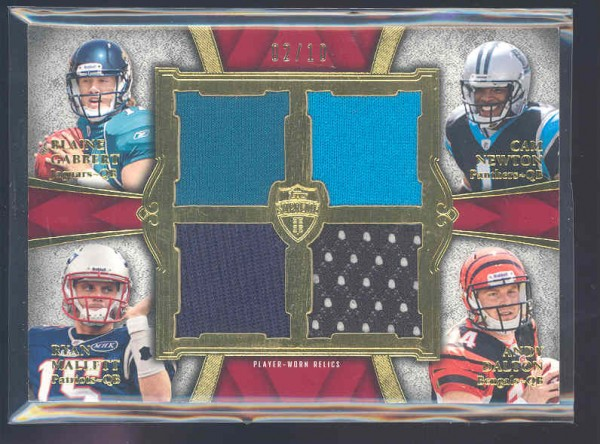 2011 Topps Supreme Rookie Relic Quad Combos Red #GNMD Blaine Gabbert/Cam Newton/Ryan Mallett/Andy Dalton