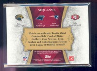 2011 Topps Supreme Rookie Relic Quad Combos Red #GNMK Blaine Gabbert/Cam Newton/Ryan Mallett/Colin Kaepernick back image