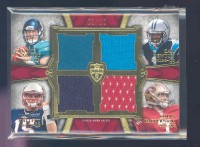 2011 Topps Supreme Rookie Relic Quad Combos Red #GNMK Blaine Gabbert/Cam Newton/Ryan Mallett/Colin Kaepernick