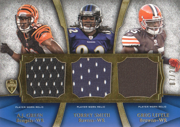 2011 Topps Supreme Six Piece Relics #3 A.J. Green/Torrey Smith/Greg Little/Titus Young/Leonard Hankerson/Austin Pettis
