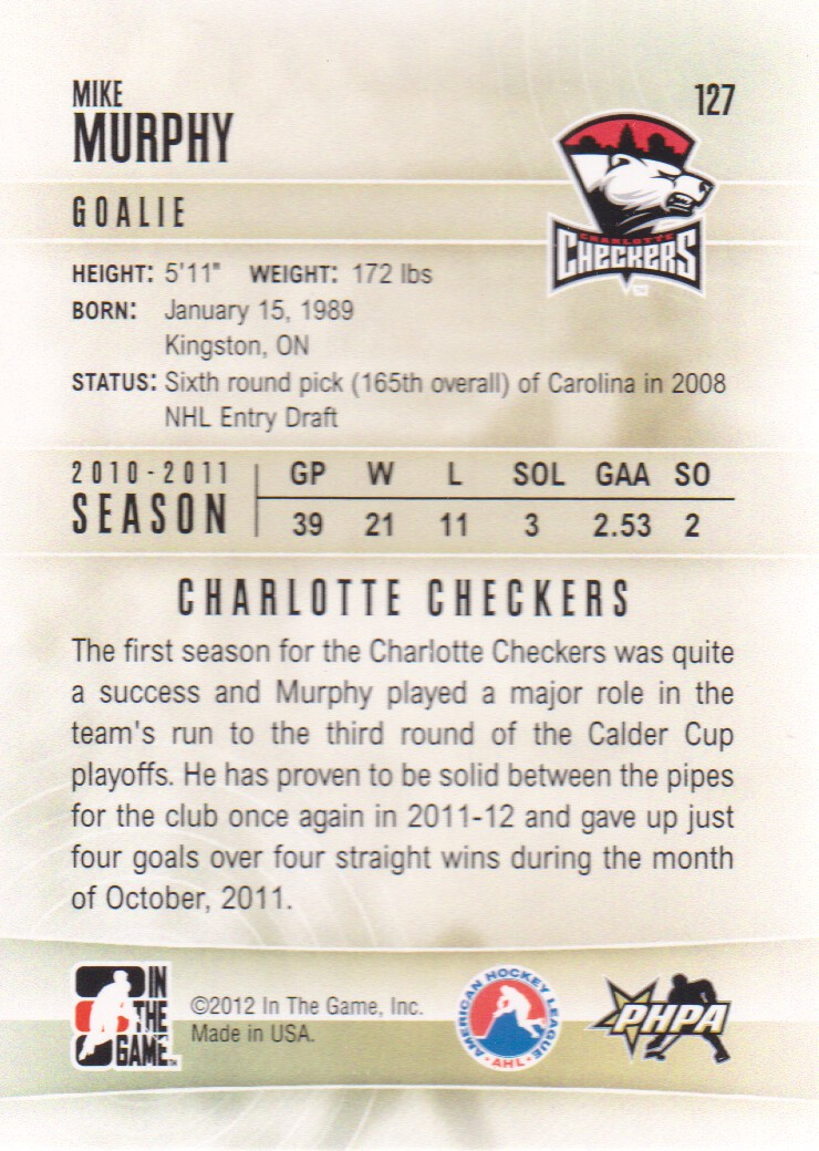 2011-12 ITG Heroes and Prospects #127 Mike Murphy AP back image