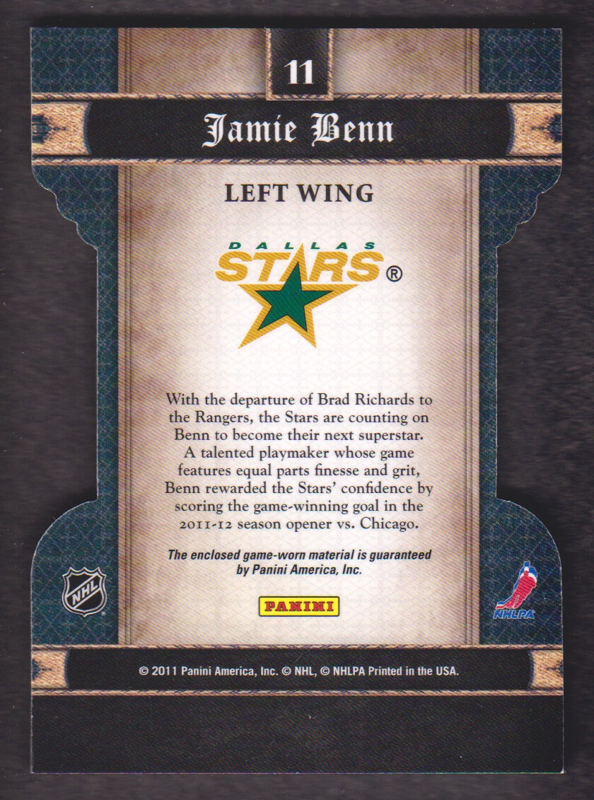 2011-12 Crown Royale Heirs To The Throne Materials #11 Jamie Benn back image