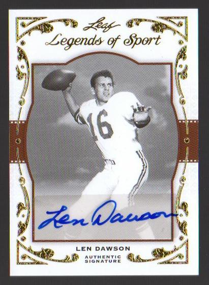 2011 Leaf Legends of Sport Gold #BA47 Len Dawson