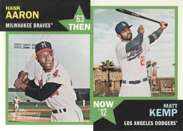 2012 Topps Heritage Then and Now #AK Hank Aaron/Matt Kemp