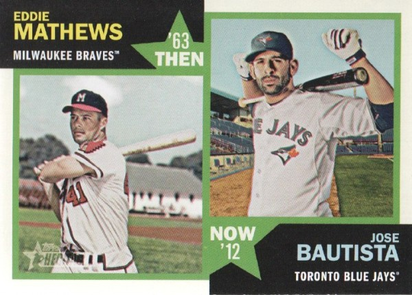 2012 Topps Heritage Then and Now #MB Eddie Mathews/Jose Bautista