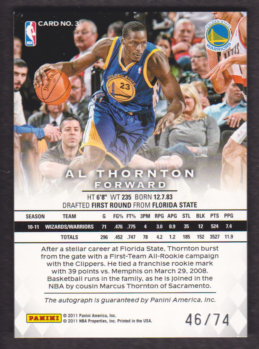 2011-12 Panini Preferred #3 Al Thornton PS/74 AU back image