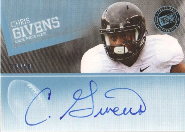 2012 Press Pass Autographs Blue #PPSCG2 Chris Givens/45*