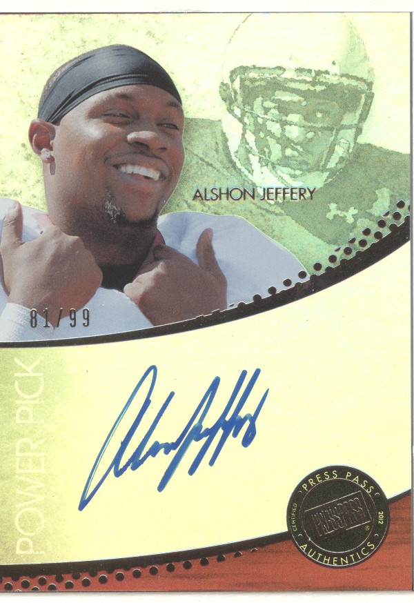 2012 Press Pass Power Pick Autographs Silver #AJ Alshon Jeffery