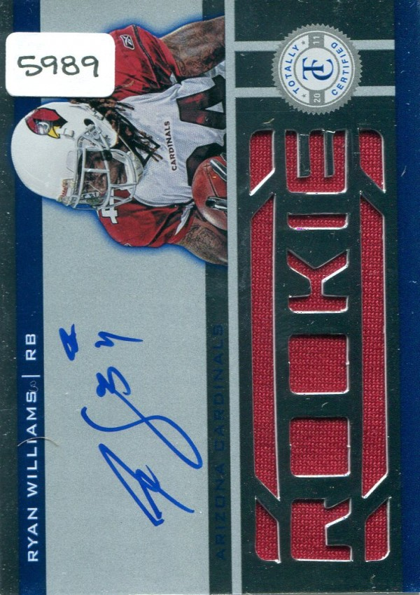 2011 Totally Certified #229 Ryan Williams JSY AU/399 RC EXCH