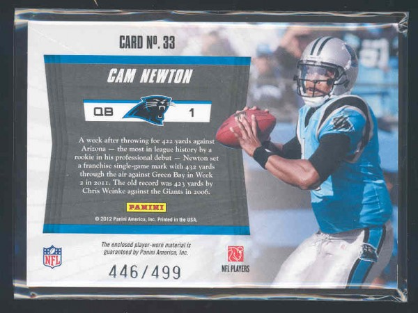 2011 Totally Certified Future Materials #33 Cam Newton back image