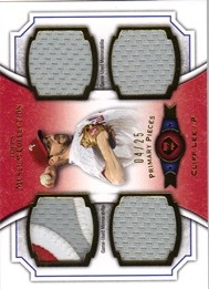 2012 Topps Museum Collection Primary Pieces Quad Relics Gold 25 #CL Cliff Lee