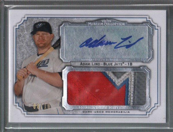 2012 Topps Museum Collection Momentous Material Jumbo Relic Autographs #AL Adam Lind