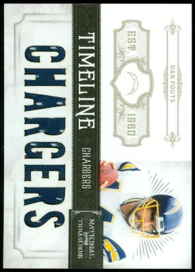 2011 Playoff National Treasures Timeline Materials Custom Team Name #1 Dan Fouts/99