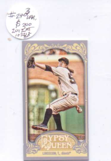 2012 Topps Gypsy Queen Mini #240B Tim Lincecum VAR