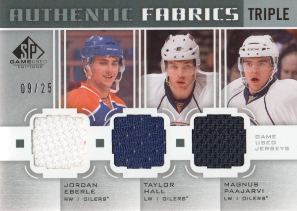 2011-12 SP Game Used Authentic Fabrics Triples #AF3EDM Jordan Eberle/Taylor Hall/Magnus Paajarvi