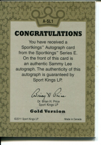 2012 Sportkings Autographs Gold #ASL1 Sammy Lee back image