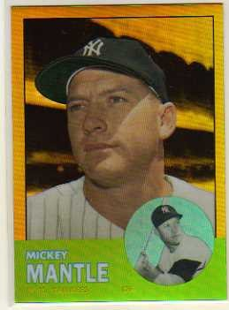 2011 Topps Factory Set Mantle Chrome Gold Refractors #200 Mickey Mantle 1963 Topps