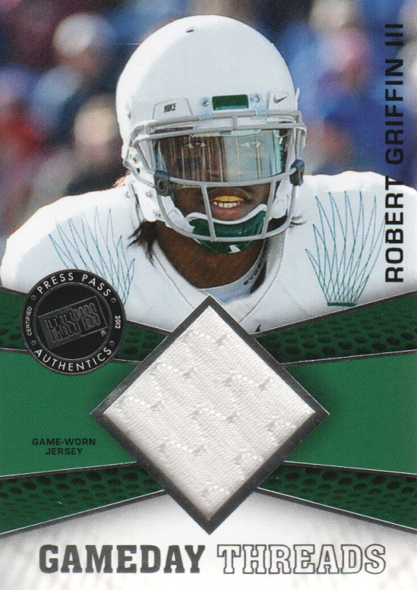 2012 Press Pass Showcase GameDay Threads Silver #GDTRG  Robert Griffin III
