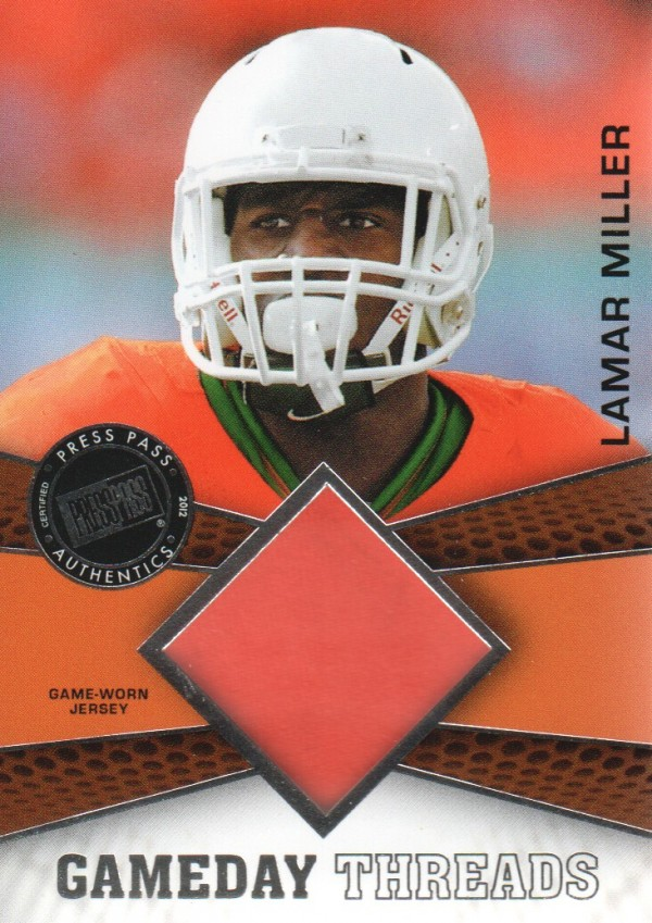 2012 Press Pass Showcase GameDay Threads Silver #GDTLM Lamar Miller